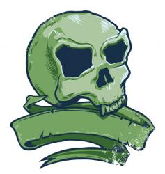 Tattoo style skull banner illustration vector