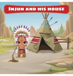 The leader of the Indians with tepee vector