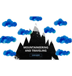The tops of the mountains in the clouds vector