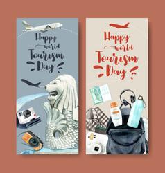 Tourism flyer design with merlion backpack vector