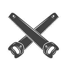 Two crossed handsaws Black on white flat logo vector image