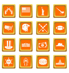 usa icons set orange vector image