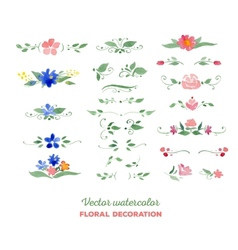 Watercolor floral elements Flowers leaves vector