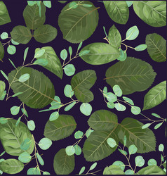 watercolor pattern of leaves of roses and twigs vector image