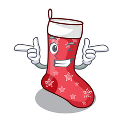 Wink cartoon christmas socks for gifts christmas vector