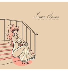 woman and staircase vector image