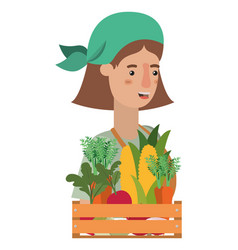 woman with wooden basket with tag avatar character vector image