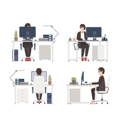 Woman working on computer female office worker vector