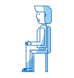 Young seated man avatar character vector