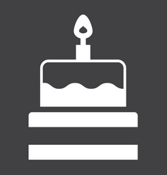 birthday cake solid icon sweet and holiday vector image vector image