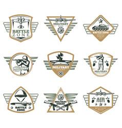 colored vintage military emblems set vector image vector image