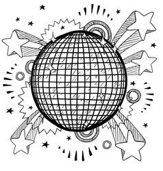 doodle pop disco ball vector image vector image