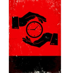 Hands holding clock vector image vector image