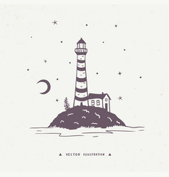 lighthouse silhouette vector image vector image