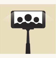 self portrait on smartphone using a monopod vector image vector image