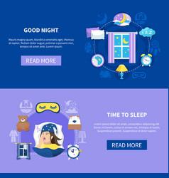 sleeping time flat banners set vector image vector image