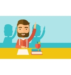 Student raising his hand vector image