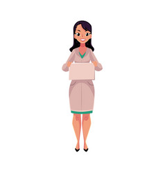 Female doctor in medical coat holding blank sign vector