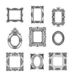 hand drawn picture frames set Sketch vector image