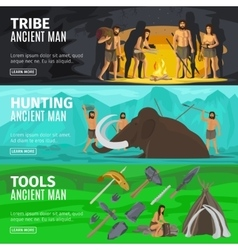Stone age caveman evolution banners vector image