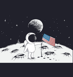astronaut sets a flag of usa on moon vector image vector image