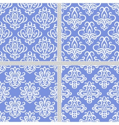 Blue seamless ethnic pattern collection vector image