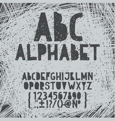 chalk hand draw doodle abc alphabet grunge vector image