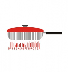 frying pan and barcode vector image vector image