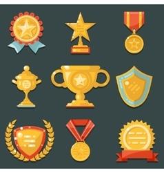 Win Gold Awards Symbols Trophy Icons Set Flat vector image