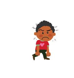 Cartoon character black boy angry vector