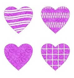 Valentine heart with patterns set vector image vector image