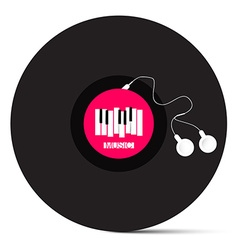 Vinyl LP Record with Headphones and Piano Keyboard vector image vector image