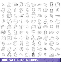 100 sweepstakes icons set outline style vector image vector image
