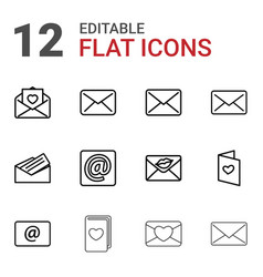 12 email icons vector