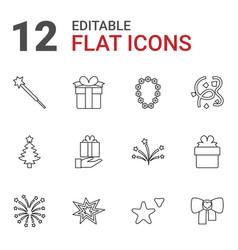 12 xmas icons vector image