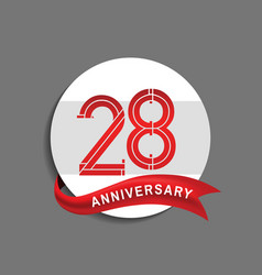 28 anniversary with white circle and red ribbon vector