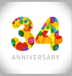 34 years anniversary circle colorful logo vector