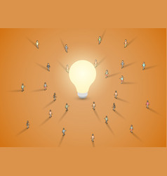A group of people walking to a light bulb vector