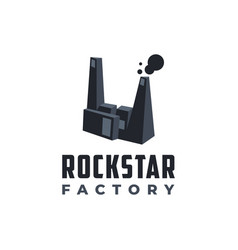 abstract rock hand factory logo icon template vector image