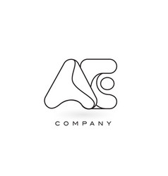 Ae monogram letter logo with thin black monogram vector
