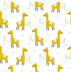 Alpaca cute animal seamless pattern vector