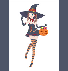 Anime manga girl in a witch costume with a big hat vector