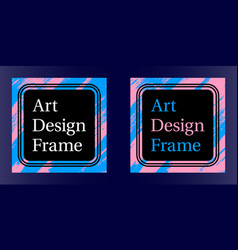 art frame art graphics in blue-pink colors vector image