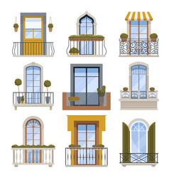 Balcony decor building wall front view facade vector