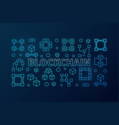 Blockchain blue or banner in vector