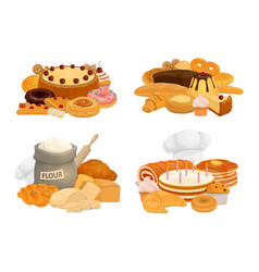Bread desserts and pastry icons vector