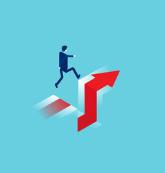 Business jumps over a cliff edge gap concept vector