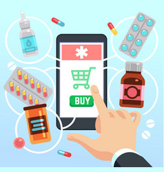 buyers hand selects and buys drugs and medications vector image