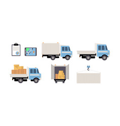 cargo transport set freight transportation vector image