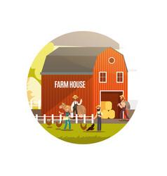 cartoon farm with farmers farm animals vector image